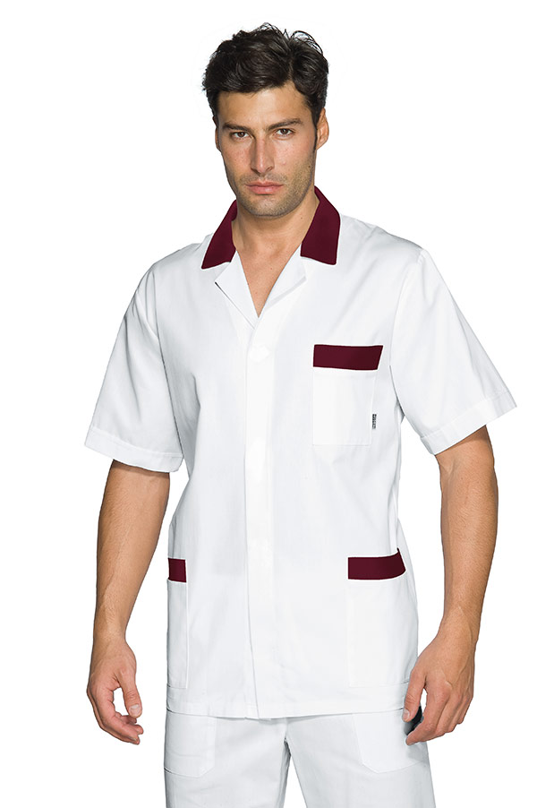 CASACCA PETER M/M BIANCO+BORDEAUX 100 % COTTON