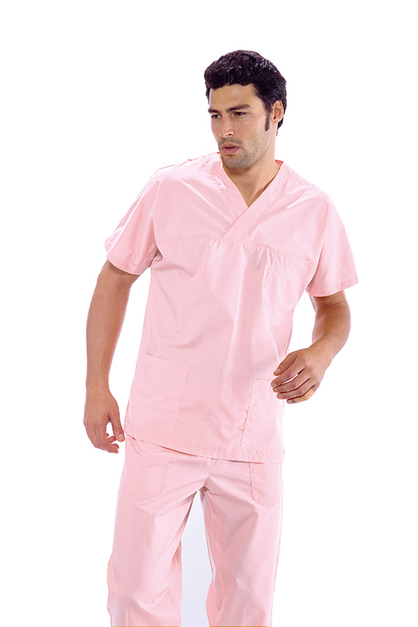 CASACCA COLLO A V ROSA UNISEX 65% POLYESTER  35% COTTON